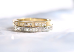 Erika Winters Fine Jewelry Isabella bands with elongated French cut diamonds in 18k yellow gold and platinum