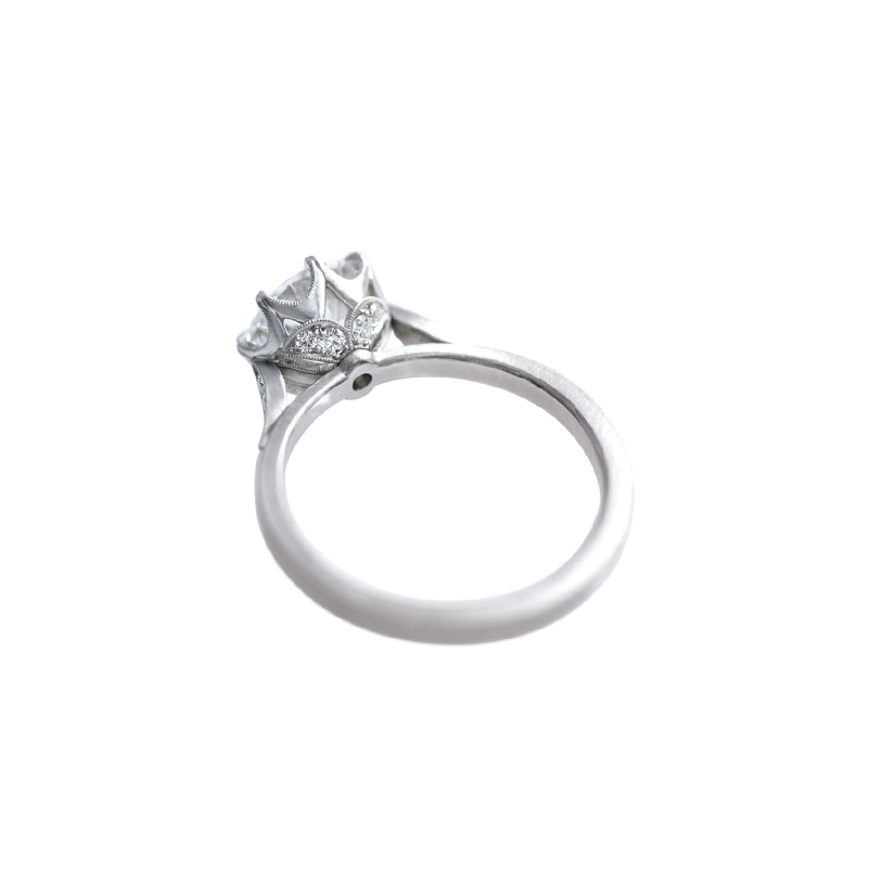 Erika Winters Fine Jewelry Grace Solitaire with Shoulder Petals Engagement Ring profile