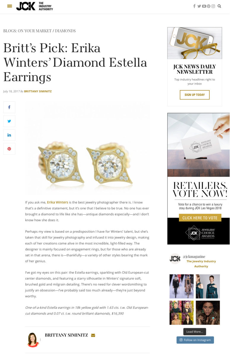 JCK Britts Pick Erika Winters Diamond Estella Earrings