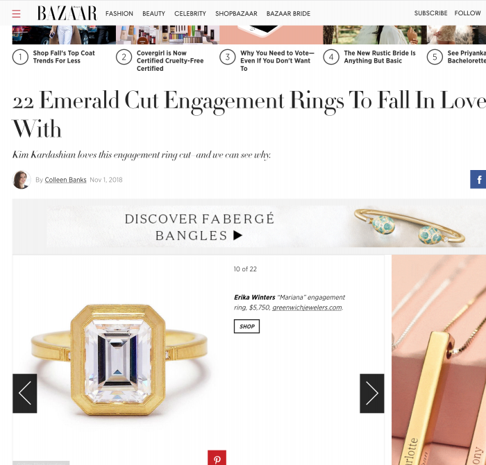 Harpers Bazaar November 2018 Emerald Cut Engagement Rings