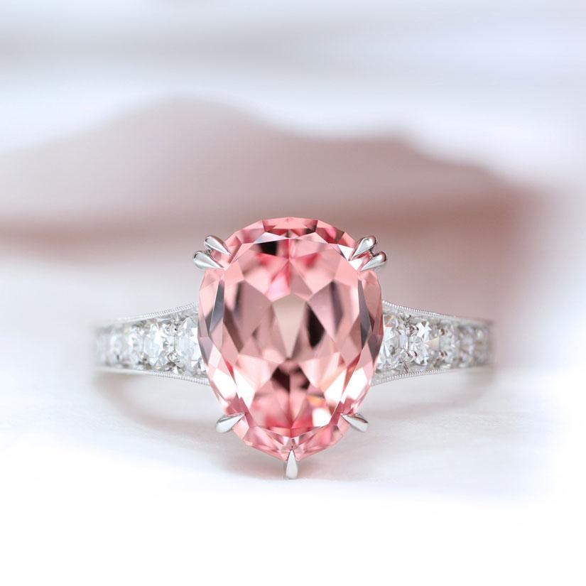 Erika Winters Fine Jewelry Minna Garnet Pink Platinum Solitaire